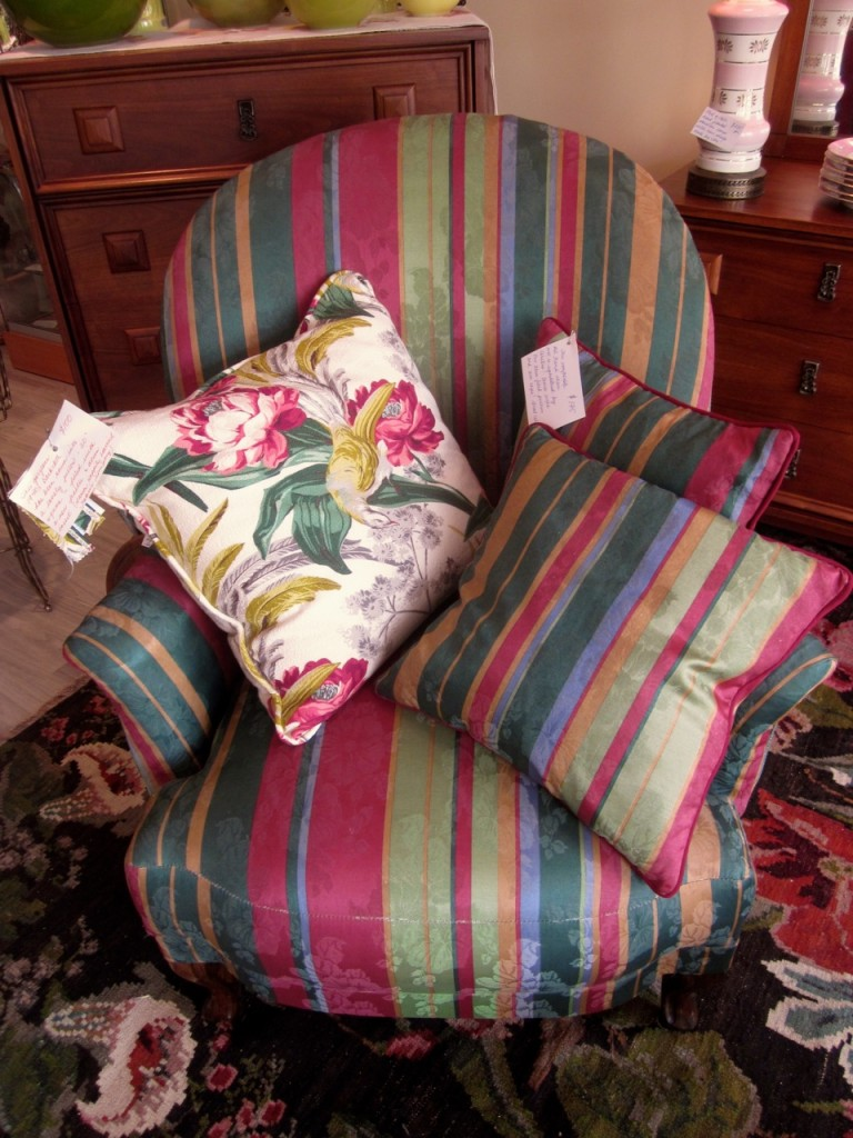 Vintage armchair. Re-upholstered by Christine in 1993. Comes with two cushions $175