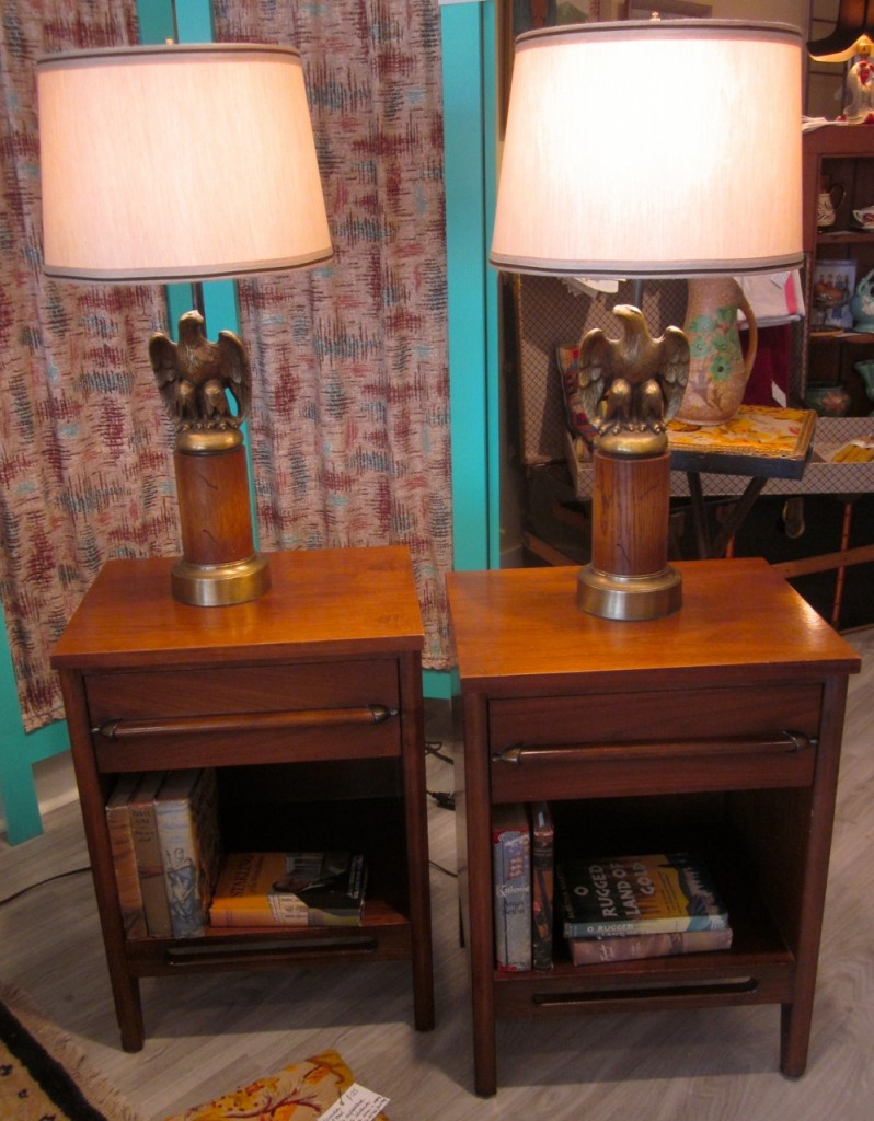 Eagle lamps $175 pair. Beside tables $295 pair.