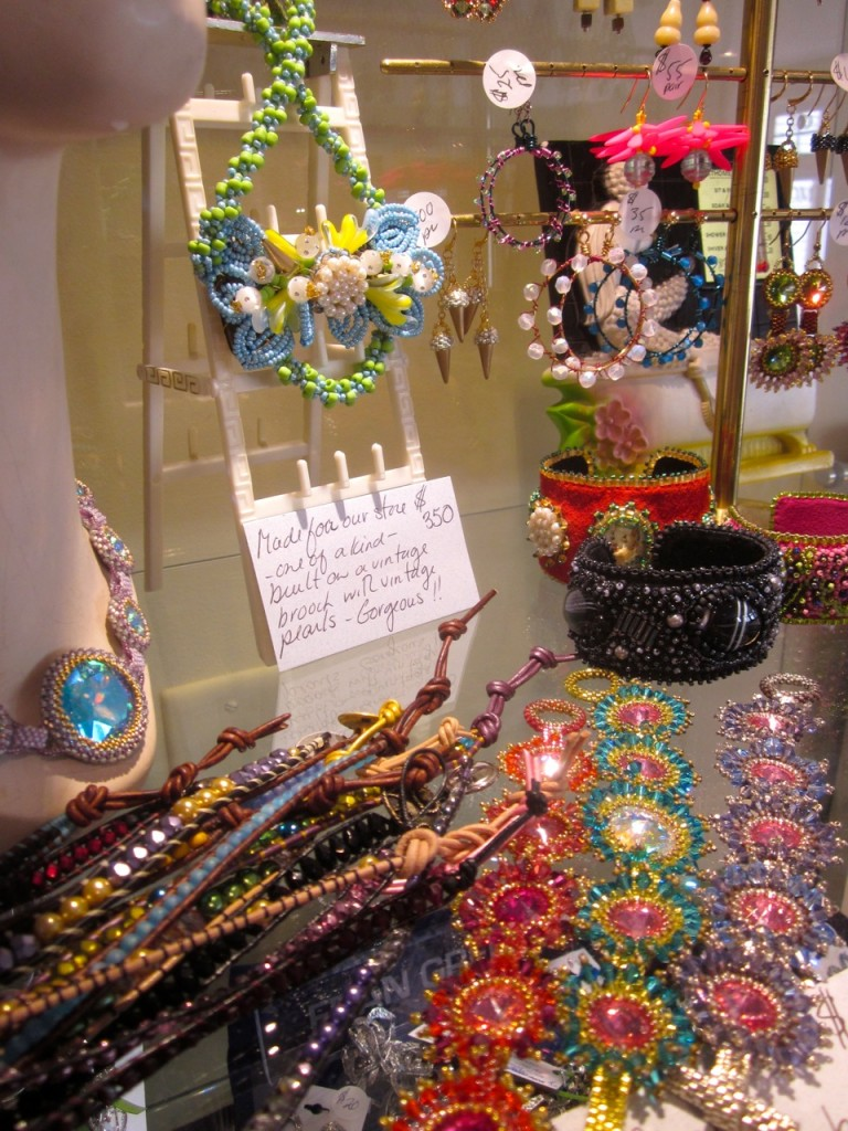 Some of Sam's beaded jewelry available in our store.