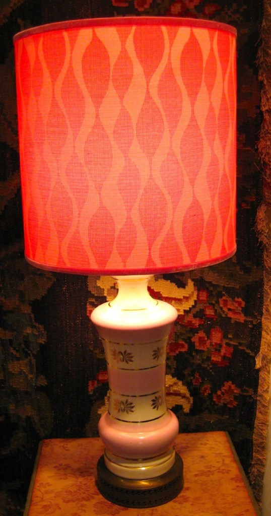 We have a pair of these pink lamps! Shades handmade by Jane. ($195 pair)