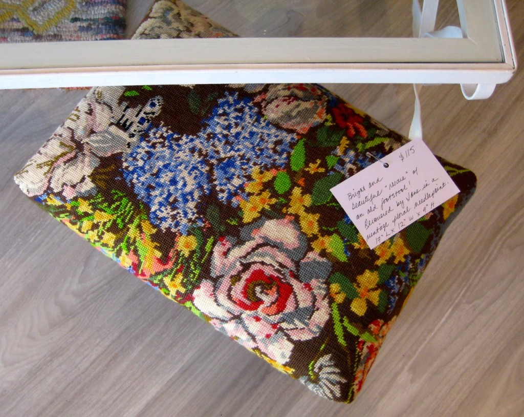 Vintage needlepoint on old footstool. $115