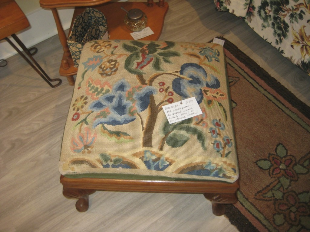 Walnut footstool with needlepoint in Jacobean style $125