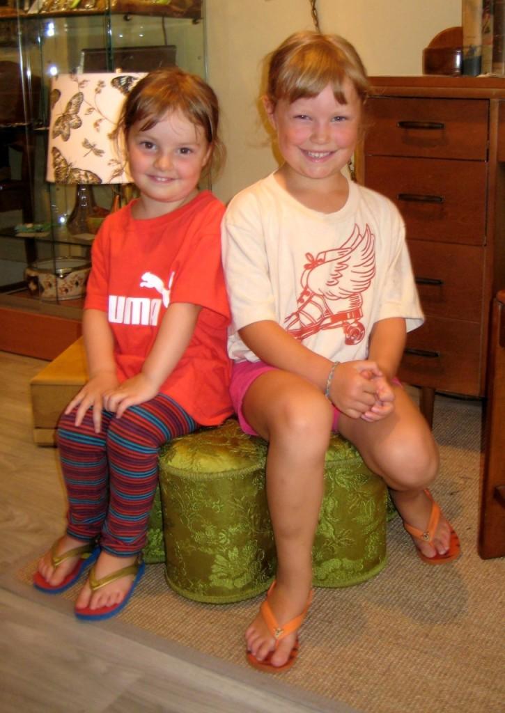Miss Ruby and Miss Etta- priceless! Green tuffet $65