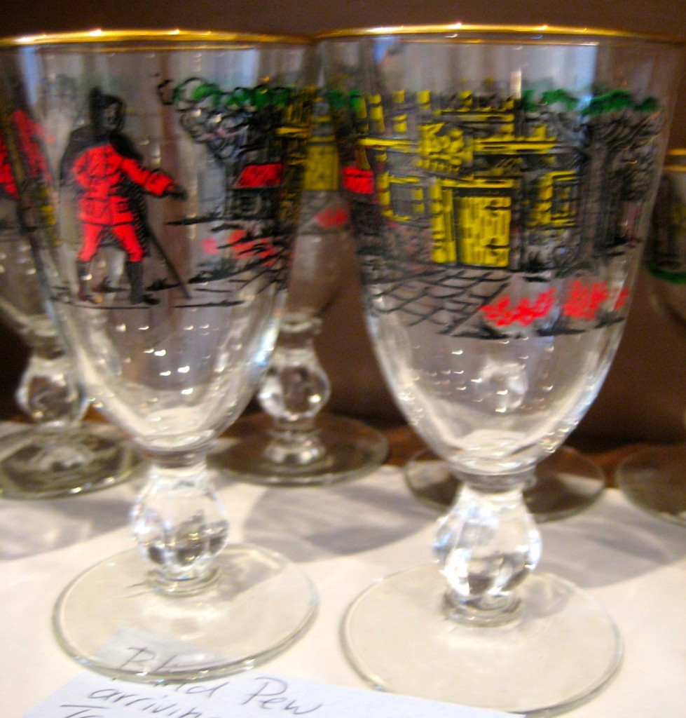 Pew arrviing at Benbow Inn wine glasses.