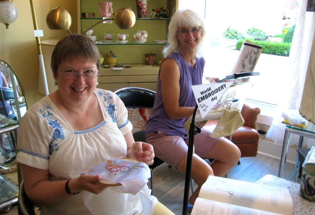 Susan and Christine celebrating World Embroidery Day at Mrs. Nicholson Home.