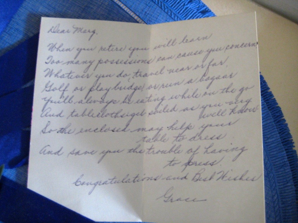 The hand written note from Grace to Marg.