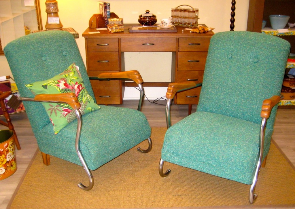 Wonderful pair of 1940s lounge chairs. $750/pair